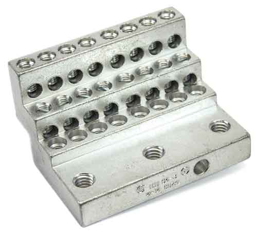24S4-3 (24)  twenty four 4-14 wire holes lug for power distribution, power collection, structure grounding, floating ground or neutral bar applications.