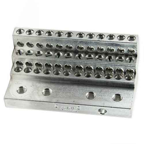 36S4-3 (36)  thirty six 4-14 wire holes lug for power distribution, power collection, structure grounding, floating ground or neutral bar applications.