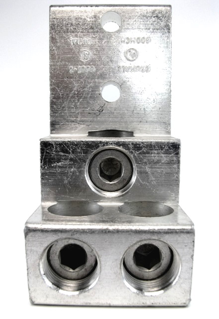 600T-3, 600 kcmil Triple wire lug, 600kcmil MCM - 2AWG, stacker type, tiered lug, vertical lug, step lug