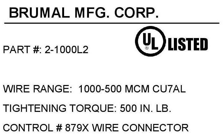 Brumall 2 1000l2 1000 kcmil double wire nema panelboard lug brumall 2 1000l2 1000 kcmil double wire nema panelboard lug aluminum termination lug greentooth Images