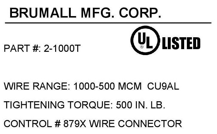 2 1000t double barrel wire lug 500 1000 kcmil awg click for mechanical drawing click for agency label keyboard keysfo Images