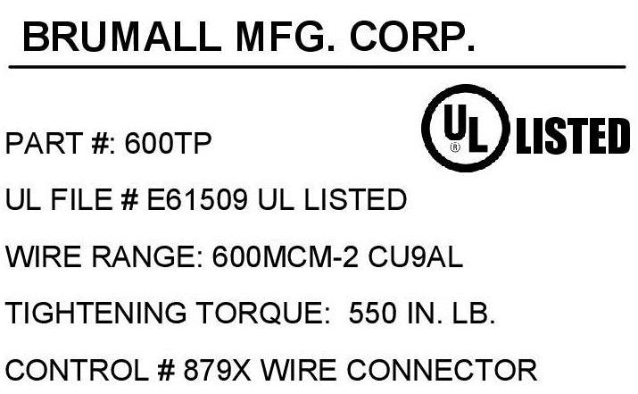 600tp single wire lug 600 kcmil 2awg click for mechanical drawing click for agency label keyboard keysfo Image collections
