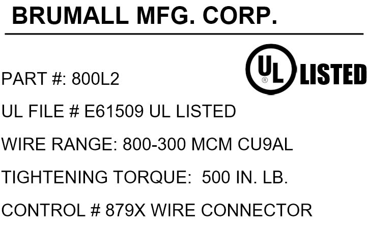 800l2 single barrel wire panel lug 800 300 kcmil click for mechanical drawing click for agency label greentooth Image collections