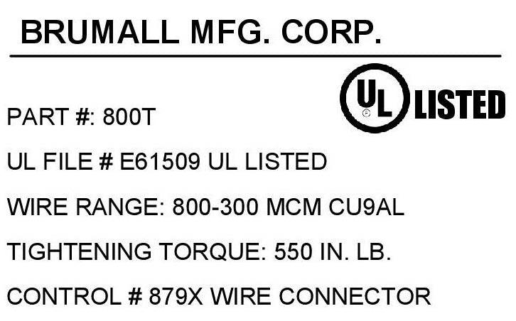 800t single wire lug 800 300 kcmil click for mechanical drawing click for agency label greentooth Choice Image