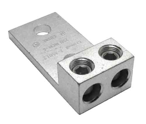 2-250L2 double wire double barrel Panelboard lug 250 kcmil (4/0 AWG) - 6 AWG, double electrical wire lug