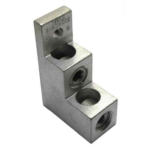 300T-2, 300 kcmil Double wire lug 300kcmil - 6AWG, stacker type, tiered lug, vertical lug, step lug