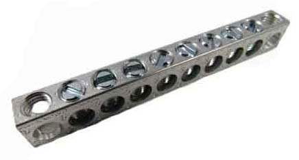 4-10,1,10 8 Circuit 2 Mounting Holes Neutral Ground Bar 4 - 14 AWG