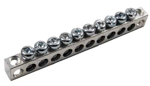 4-12,1,12-RS 4-14 AWG, 10 Circuit 2 Mounting Holes Neutral Ground Bar