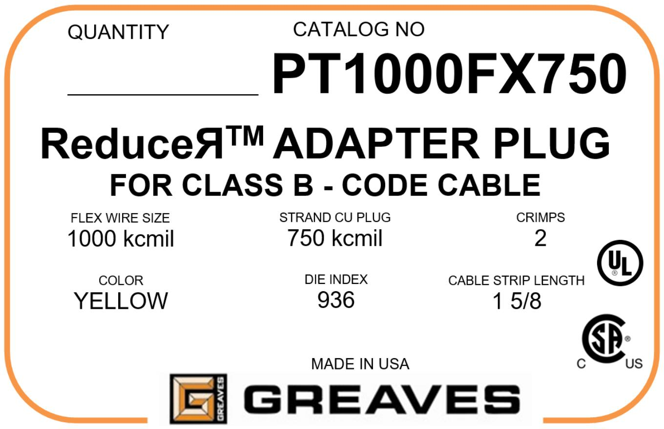 Greaves Pt 1000r750 1000 Kmil Flex Wire Cable Adapter Wiring A Plug Us