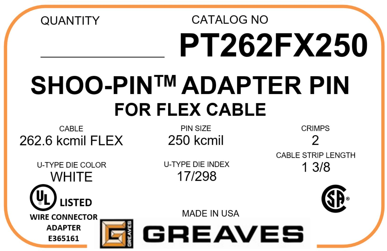 Greaves - PT 262FX250 262.3 kcmil FLEX to 250kcmil Flex wire cable ...