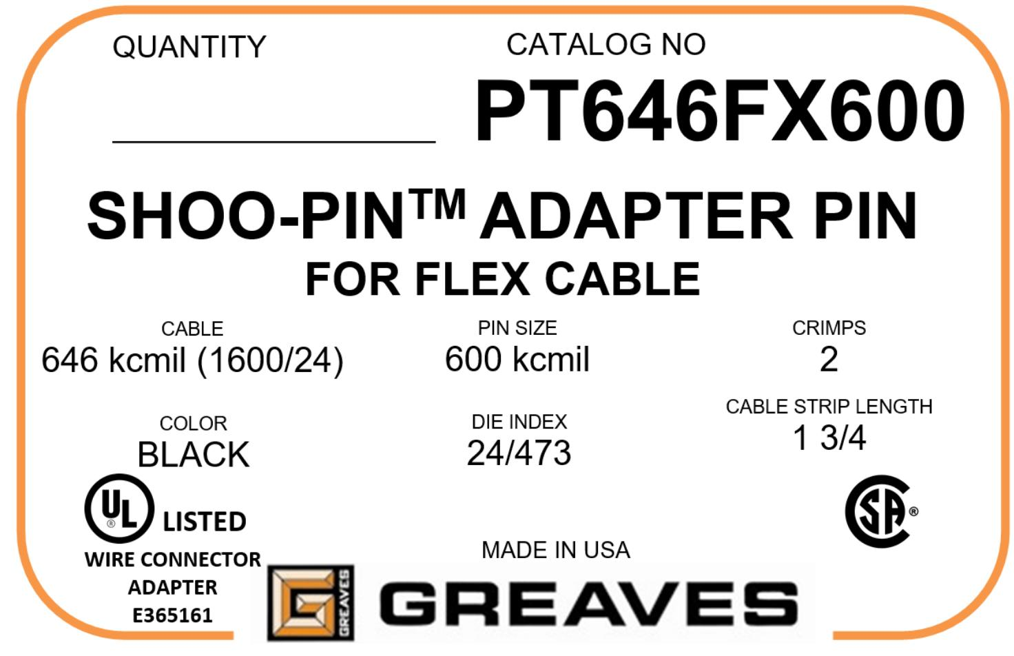 Greaves pt 646fx600 646 kcmil flex to 500kcmil flex wire cable adapter keyboard keysfo
