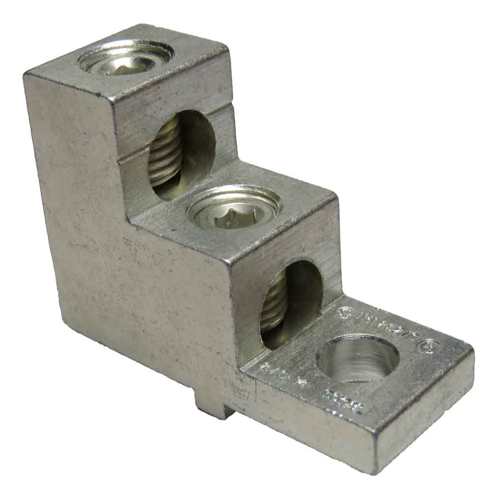 2S2/0-TP-STK-34-49-HEX 2 wires, 2/0 - 14 AWG, 5mm Metric Hex Socket, double wire double barrel stacker type, tiered lug, vertical lug, step lug