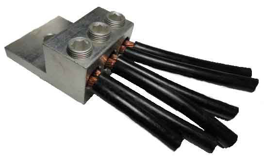 250 kcmil (4/0 AWG) - 6 AWG wire range electrical triple wire triple barrel lug