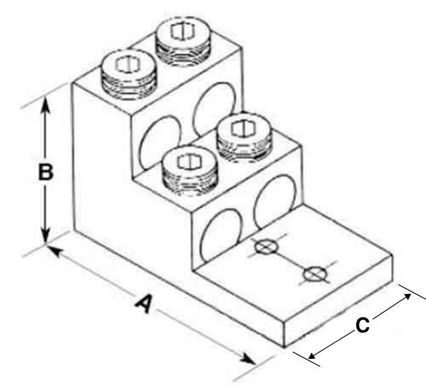 brumall - 600t-4 600 kcmil quadruple wire mechanical lug